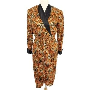Jack Mulqueen Silk Cheetah Print Faux Wrap Dress